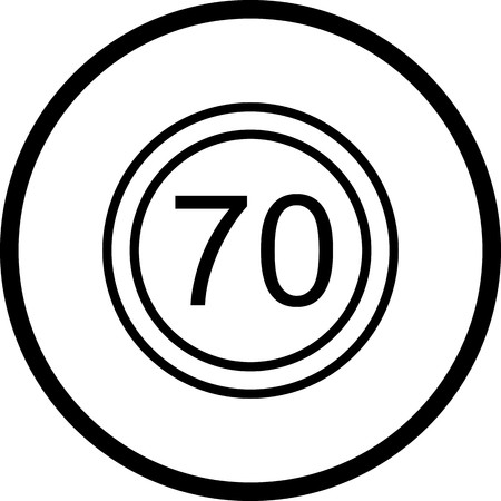 Vector Speed limit 70 Icon Illustration