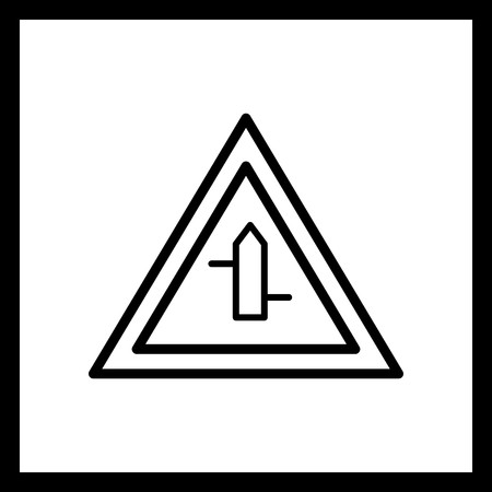 Vector Minor cross roads from left to right Road Sign Icon 向量圖像