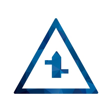 Vector Minor cross roads from left to right Road Sign Icon  イラスト・ベクター素材