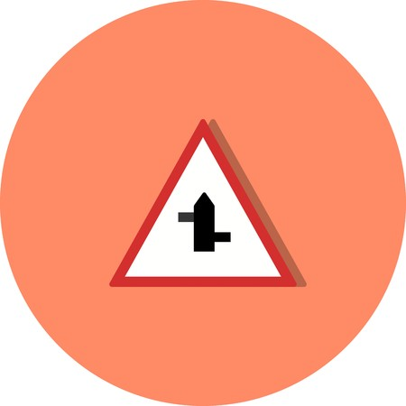 Vector Minor cross roads from left to right Road Sign Icon