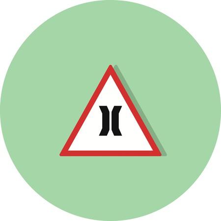 Vector Narrow bridge Road Sign Icon