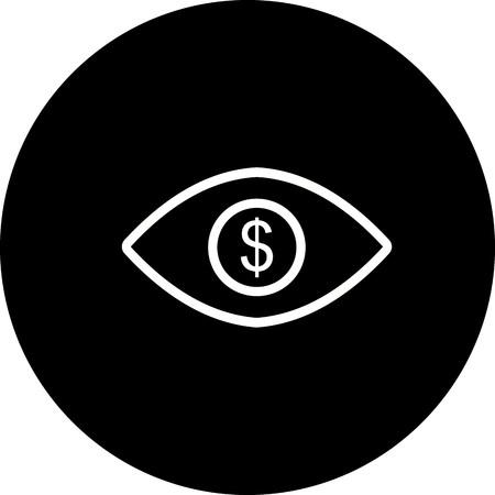 Vector Eye Dollar Icon Illustration