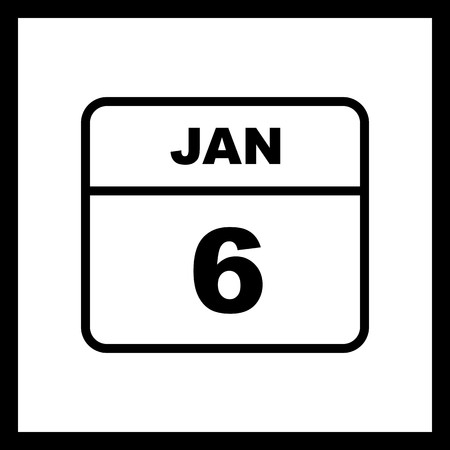 January 6th Date on a Single Day Calendar  イラスト・ベクター素材