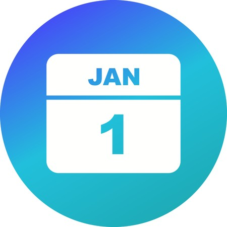 January 1st Date on a Single Day Calendar