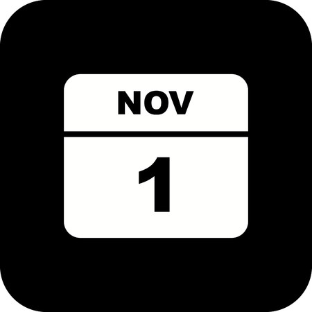 November 1st Date on a Single Day Calendar