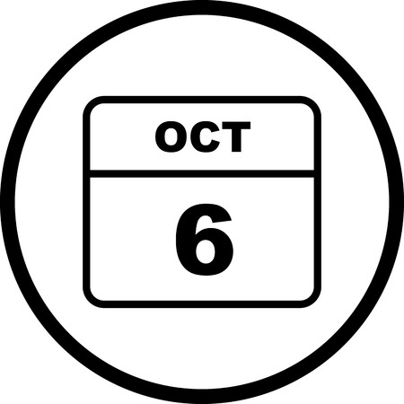 October 6th Date on a Single Day Calendar