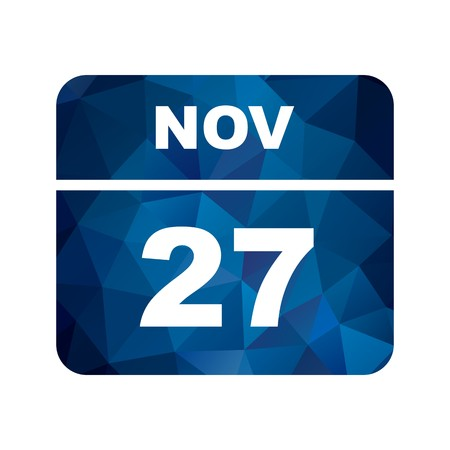 November 27th Date on a Single Day Calendar