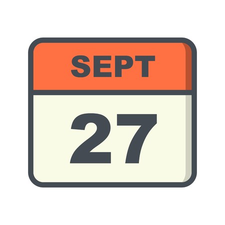 September 27th Date on a Single Day Calendar