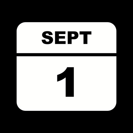 September 1st Date on a Single Day Calendar 向量圖像