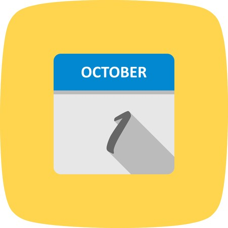 October 1st Date on a Single Day Calendar 向量圖像