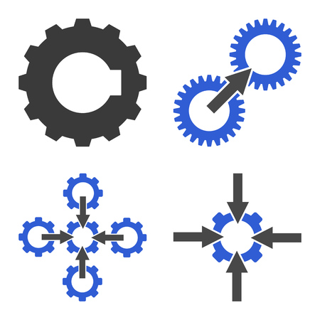 Gear Integration Arrow icon set. Flat symbol collection. Vector pictograms.