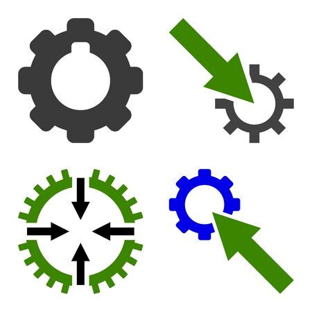 Gear Integration Arrow icon set. Flat symbol collection. Vector pictograms.