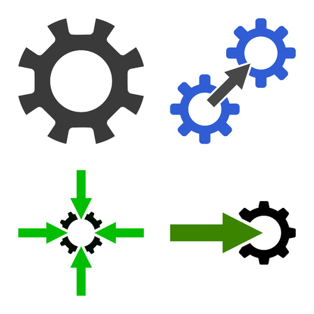 industrial machinery: Gear Integration Tools icon set. Flat symbol collection. Raster pictograms.
