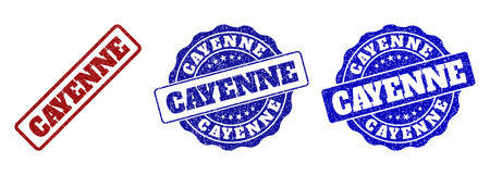 CAYENNE scratched stamp seals in red and blue colors. Vector CAYENNE watermarks with dirty effect. Graphic elements are rounded rectangles, rosettes, circles and text captions.