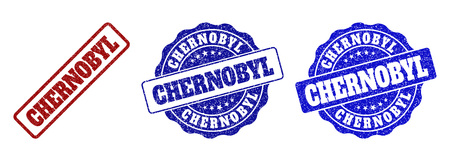 CHERNOBYL grunge stamp seals in red and blue colors. Vector CHERNOBYL marks with grunge surface. Graphic elements are rounded rectangles, rosettes, circles and text tags. Иллюстрация