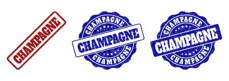 CHAMPAGNE scratched stamp seals in red and blue colors. Vector CHAMPAGNE labels with draft effect. Graphic elements are rounded rectangles, rosettes, circles and text labels.