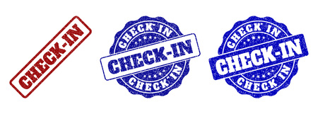 CHECK-IN grunge stamp seals in red and blue colors. Vector CHECK-IN signs with grunge style. Graphic elements are rounded rectangles, rosettes, circles and text labels.