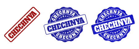 CHECHNYA scratched stamp seals in red and blue colors. Vector CHECHNYA labels with grunge texture. Graphic elements are rounded rectangles, rosettes, circles and text labels. Иллюстрация