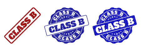CLASS B scratched stamp seals in red and blue colors. Vector CLASS B watermarks with scratced surface. Graphic elements are rounded rectangles, rosettes, circles and text labels.