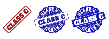 CLASS C grunge stamp seals in red and blue colors. Vector CLASS C signs with grunge effect. Graphic elements are rounded rectangles, rosettes, circles and text titles.