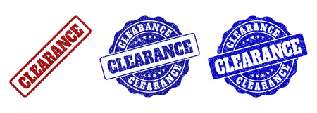 CLEARANCE grunge stamp seals in red and blue colors. Vector CLEARANCE overlays with distress style. Graphic elements are rounded rectangles, rosettes, circles and text tags.