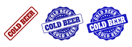 COLD BEER grunge stamp seals in red and blue colors. Vector COLD BEER labels with scratced style. Graphic elements are rounded rectangles, rosettes, circles and text labels.