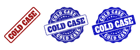 COLD CASE grunge stamp seals in red and blue colors. Vector COLD CASE marks with grunge style. Graphic elements are rounded rectangles, rosettes, circles and text titles.