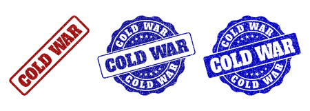 COLD WAR scratched stamp seals in red and blue colors. Vector COLD WAR labels with distress surface. Graphic elements are rounded rectangles, rosettes, circles and text labels.