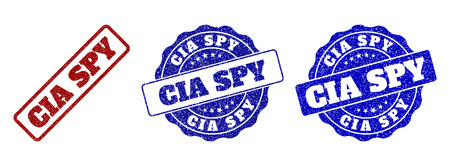 CIA SPY grunge stamp seals in red and blue colors. Vector CIA SPY labels with grunge effect. Graphic elements are rounded rectangles, rosettes, circles and text titles.