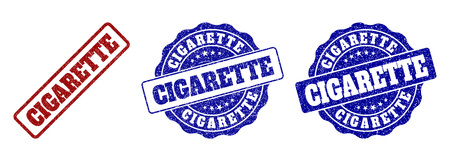 CIGARETTE scratched stamp seals in red and blue colors. Vector CIGARETTE marks with grunge style. Graphic elements are rounded rectangles, rosettes, circles and text titles.