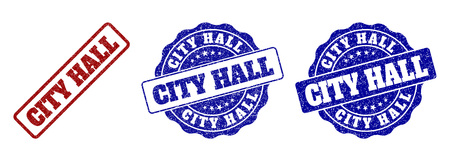 CITY HALL grunge stamp seals in red and blue colors. Vector CITY HALL marks with grunge style. Graphic elements are rounded rectangles, rosettes, circles and text labels. Çizim