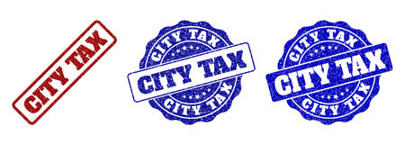 CITY TAX grunge stamp seals in red and blue colors. Vector CITY TAX labels with grunge texture. Graphic elements are rounded rectangles, rosettes, circles and text captions. Çizim
