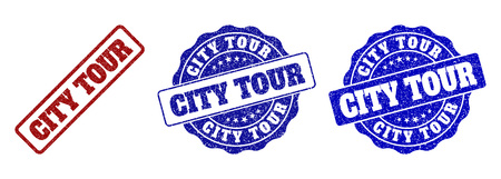 CITY TOUR grunge stamp seals in red and blue colors. Vector CITY TOUR overlays with grunge effect. Graphic elements are rounded rectangles, rosettes, circles and text titles.