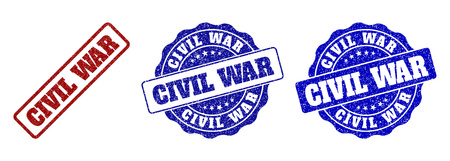 CIVIL WAR grunge stamp seals in red and blue colors. Vector CIVIL WAR labels with grainy surface. Graphic elements are rounded rectangles, rosettes, circles and text tags.