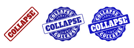 COLLAPSE grunge stamp seals in red and blue colors. Vector COLLAPSE labels with dirty surface. Graphic elements are rounded rectangles, rosettes, circles and text labels.