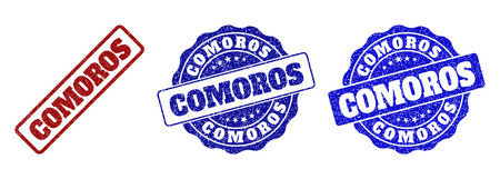 COMOROS grunge stamp seals in red and blue colors. Vector COMOROS watermarks with grainy texture. Graphic elements are rounded rectangles, rosettes, circles and text tags.