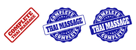 COMPLETE THAI MASSAGE grunge stamp seals in red and blue colors. Vector COMPLETE THAI MASSAGE signs with grunge surface. Graphic elements are rounded rectangles, rosettes, circles and text captions.