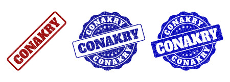 CONAKRY scratched stamp seals in red and blue colors. Vector CONAKRY labels with distress texture. Graphic elements are rounded rectangles, rosettes, circles and text labels.