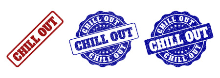 CHILL OUT grunge stamp seals in red and blue colors. Vector CHILL OUT labels with grainy style. Graphic elements are rounded rectangles, rosettes, circles and text labels. Çizim