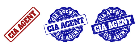 CIA AGENT grunge stamp seals in red and blue colors. Vector CIA AGENT imprints with grainy effect. Graphic elements are rounded rectangles, rosettes, circles and text tags.