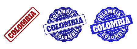 COLOMBIA grunge stamp seals in red and blue colors. Vector COLOMBIA signs with grunge style. Graphic elements are rounded rectangles, rosettes, circles and text titles.