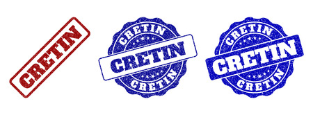 CRETIN scratched stamp seals in red and blue colors. Vector CRETIN watermarks with grainy effect. Graphic elements are rounded rectangles, rosettes, circles and text titles.