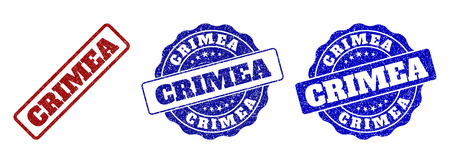 CRIMEA grunge stamp seals in red and blue colors. Vector CRIMEA labels with dirty texture. Graphic elements are rounded rectangles, rosettes, circles and text labels. Иллюстрация