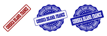 CORSICA ISLAND, FRANCE grunge stamp seals in red and blue colors. Vector CORSICA ISLAND, FRANCE imprints with grunge texture. Graphic elements are rounded rectangles, rosettes,