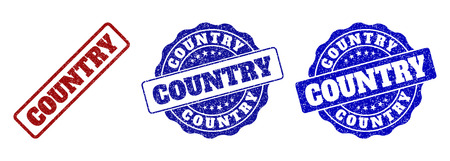 COUNTRY grunge stamp seals in red and blue colors. Vector COUNTRY labels with grainy effect. Graphic elements are rounded rectangles, rosettes, circles and text labels.