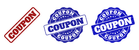 COUPON scratched stamp seals in red and blue colors. Vector COUPON imprints with scratced surface. Graphic elements are rounded rectangles, rosettes, circles and text labels.