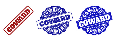 COWARD grunge stamp seals in red and blue colors. Vector COWARD labels with grainy surface. Graphic elements are rounded rectangles, rosettes, circles and text titles. Иллюстрация