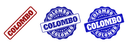 COLOMBO grunge stamp seals in red and blue colors. Vector COLOMBO watermarks with grunge style. Graphic elements are rounded rectangles, rosettes, circles and text captions. Çizim