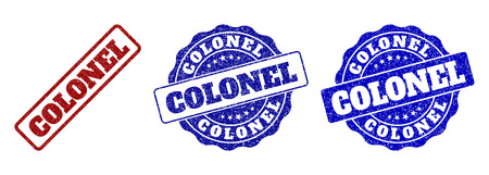 COLONEL scratched stamp seals in red and blue colors. Vector COLONEL signs with dirty surface. Graphic elements are rounded rectangles, rosettes, circles and text titles. Иллюстрация