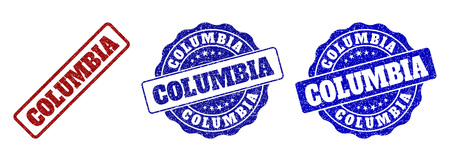 COLUMBIA grunge stamp seals in red and blue colors. Vector COLUMBIA labels with dirty surface. Graphic elements are rounded rectangles, rosettes, circles and text captions.